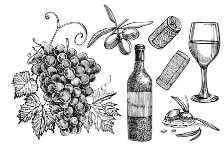 Wine products illustration. Vettoriali