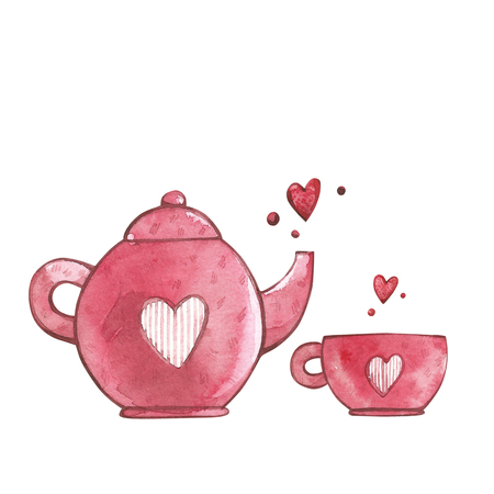 Pink cup and teapot with heart. Watercolor set of elements for Valentines day. Scrapbook design elements. Typography poster, card, label, banner design set.