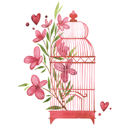 Bird cage with flowers. Watercolor pink set of elements for Valentines day. Scrapbook design elements. Typography poster, card, label, banner design set. Stock Photo