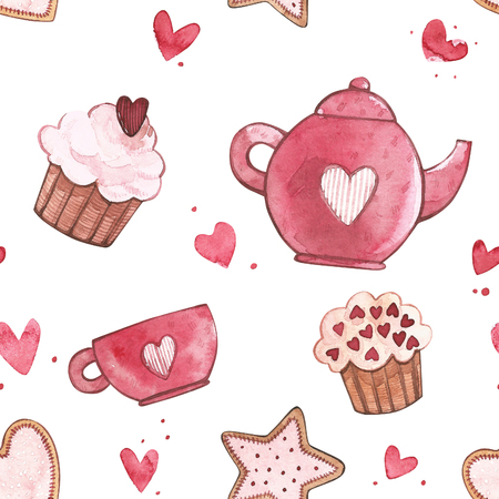 Seamless patterns with cup and teapot. Pink Watercolor set of elements for Valentines day. Scrapbook design elements. Typography poster, card, label, banner design set. Stockfoto