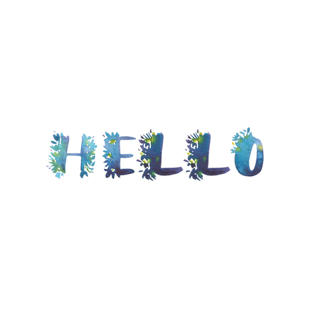 Watercolor phrase - Hello. Exclusive Custom Characters. Hand Lettering and Typographic art for Designs: Logo, for Poster, Invitation, Card, etc. Brush Typography. Stok Fotoğraf