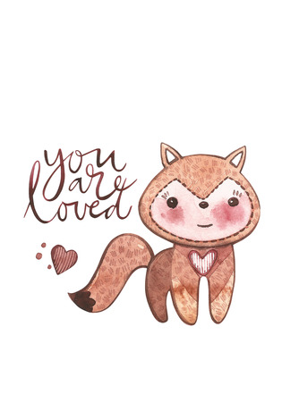 Valentines Day cards with fox. You are loved. Romantic quote for design greeting cards, tattoo, holiday invitations. Watercolor Pink set of elements for Valentines day. Scrapbook design elements.