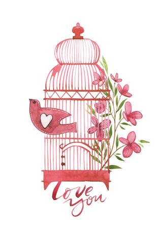 Carte di San Valentino con gabbia per uccelli con fiori. Ti amo. Citazione romantica per biglietti di auguri di design, tatuaggio, inviti per le vacanze. Insieme dell'acquerello di elementi rosa per San Valentino. Archivio Fotografico - 93748893