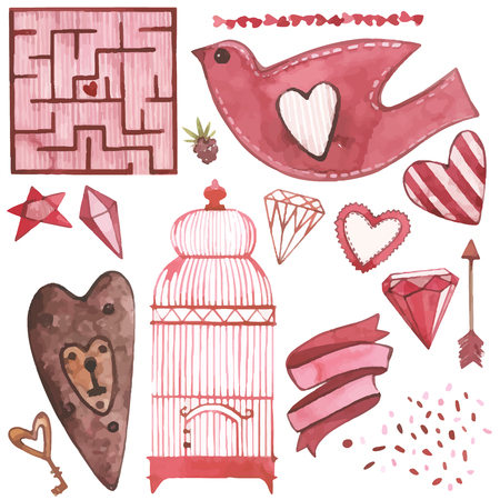 Vector Watercolor pink set of elements for Valentines day. Scrapbook design elements. Typography poster, card, label, banner design set Çizim