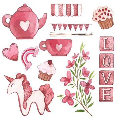 Vector Watercolor pink set of elements for Valentine's day. Scrapbook design elements. Typography poster, card, label, banner design set