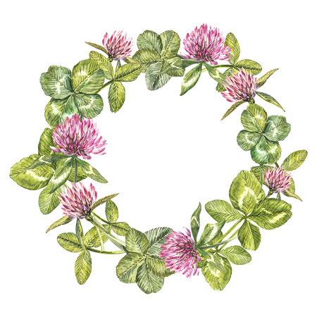 Hand-drawn watercolor wreath of flowers of red clover and leaves illustration. Painted botanical three-leaved meadow grass, isolated on white background. Happy St.Patrick s Day card compositions.