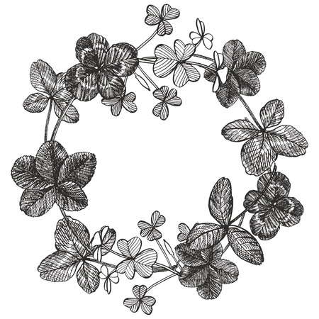 Set of hand drawn clover illustrations isolated on white background. Vector Floral wreath. Graphic round border.