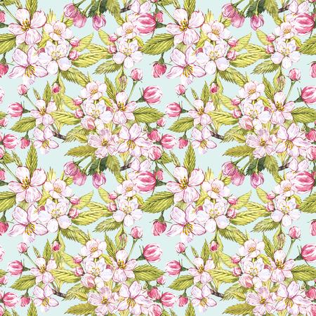 Apple flowers hand drawn seamless pattern watercolor illustration.