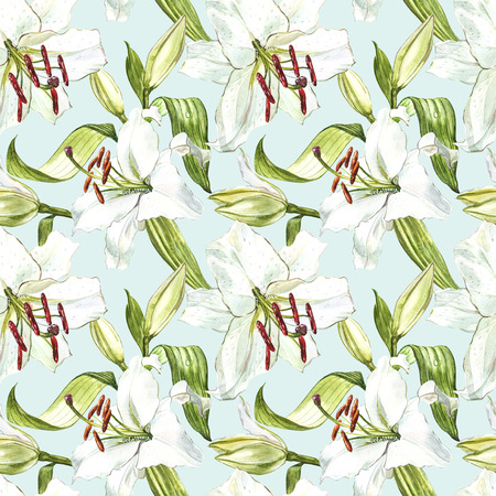 Seamless floral pattern. Watercolor white lilies, hand drawn botanical illustration of flowers. Stock Photo