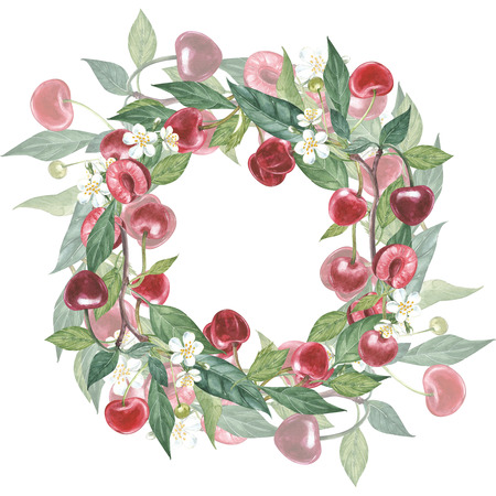 Hand-drawn watercolor wreath of flowers of cherry and leaves illustration. Watercolor botanical illustration isolated on white background. Stockfoto