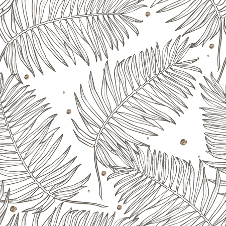Jungle leaves seamless vector floral pattern background. Tropical palm leaves background. Vector illustration in trendy style