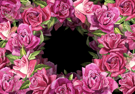 Natural pink roses background. Frame of red and pink roses, watercolor illustration. Stock Photo
