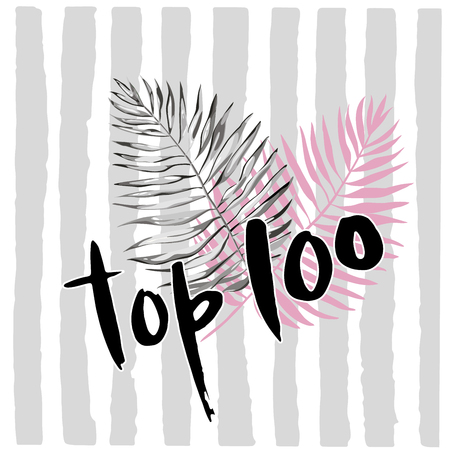 Hand drawn word-Top 100. Lettering design for posters, t-shirts, cards, invitations, stickers, banners, advertisement. Vector EPS 10