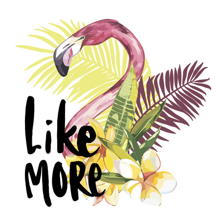 Summer illustration with flamingo. Tropical Bird. Summer Design Vector. T-shirt Fashion Graphic. Hand drawn phrase- Like more.