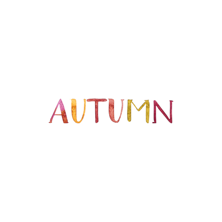 Background watercolor illustration with word - Autumn on white background.