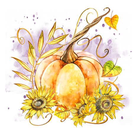 Pumpkin with sunflowers. Hand drawn watercolor painting on white background. Watercolor illustration with a splash. 版權商用圖片