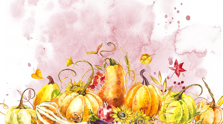 Pumpkins composition. Hand drawn watercolor painting on white background. Watercolor illustration with a splash. Happy Thanksgiving Pumpkin Stock Photo