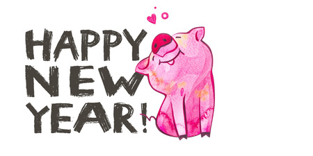 Cute pig with creative 2019 New Year lettering. Symbol of the year in the Chinese calendar. Watercolor illustration for postcard horizontal format.