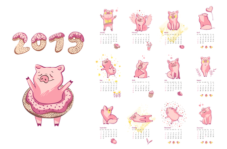 Monthly creative calendar 2019 with cute pig. Concept, vector vertical editable template. Symbol of the year in the Chinese calendar. Vector illustration 일러스트