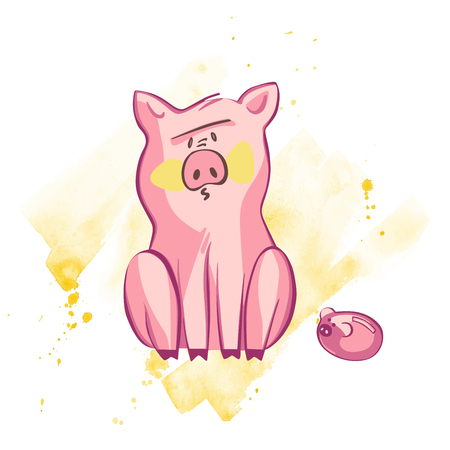 Funny pig. Isolated on white. Cute vector illustration. Symbol of the year in the Chinese calendar