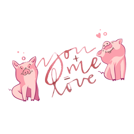 Happy pigs with love letters, presents for Valentine s day on white background