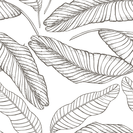 Jungle leaves seamless floral pattern background. Tropical palm leaves background. Graphic illustration in trendy style. Stock Photo