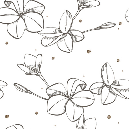 Jungle flowers plumeria seamless floral pattern background. Tropical flowers background. Graphic illustration in trendy style.