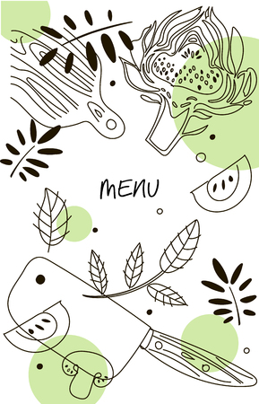Wine composition. Line art graphic. Restaurant template. Line illustration.