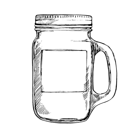 Isoleted Tumbler with stainless steel lid. Graphic hand drawn painted illustration. Place for text