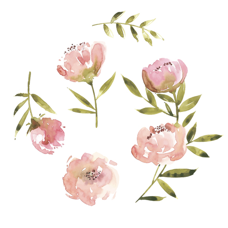 Flowers watercolor illustration. Mother s Day, wedding, birthday, Easter Valentine s Day