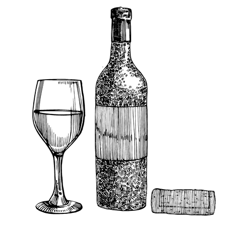 Red wine bottle and glasses, sketch style illustration isolated on white background. Realistic hand drawing. Engraving style illustrations.