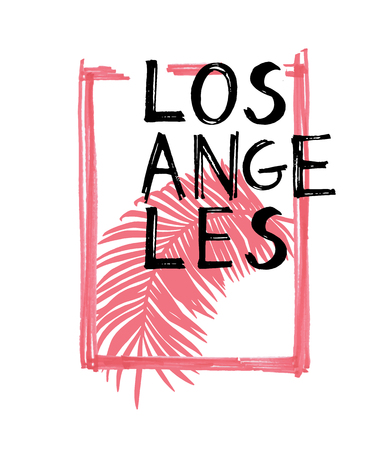 Typography slogan with tropical leaves. Hand drawn Los-angeles for t shirt printing.