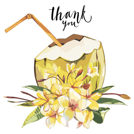 Word- Thank you. Coconut hand drawn sketch with plumeria flowers. Watercolor tropical food illustration. Isolated on white background. Imagens