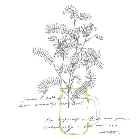 Branch of wild plant Vicia cracca. Tufted Vetch or Vicia cracca, vintage engraved illustration. Bouquet of hand drawn flowers and herbs. Botanical plant illustration. Handwritten abstract text wallpaper. Imitation of a abstract vintage lettering. Foto de archivo