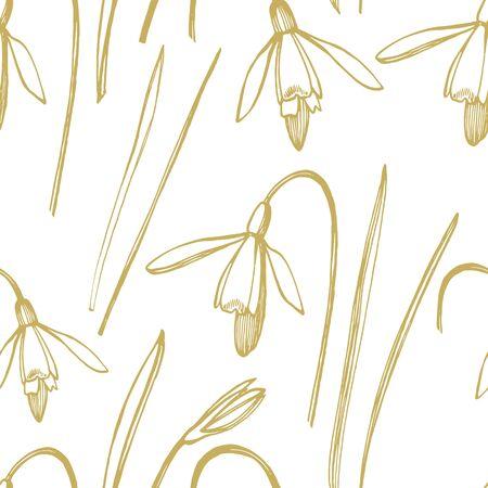Snowdrop spring flowers. Botanical plant illustration. Vintage medicinal herbs sketch set of ink hand drawn medical herbs and plants sketch. Seamless patterns