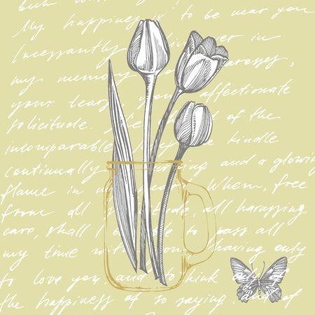 Tulip flower graphic sketch illustration. Botanical plant illustration. Vintage medicinal herbs sketch set of ink hand drawn medical herbs and plants sketch. Handwritten abstract text.