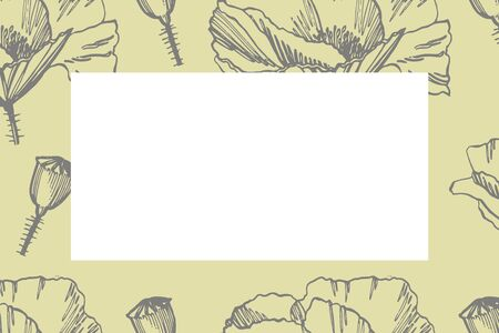 Collection of hand drawn flowers and plants. Botany. Set. Vintage flowers. Black and white illustration in the style of engravings. Card template on romantic background. Graphic illustration. Stok Fotoğraf