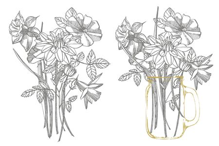 Tulips, Roses and Narcissus flowers bouquet isolated on white background. Set of drawing cornflowers, floral elements, hand drawn botanical illustration. Handwritten abstract text. Stock Photo