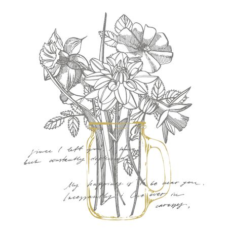 Narcissus, Roses an Dahlias flowers bouquet isolated on white background. Set of drawing cornflowers, floral elements, hand drawn botanical illustration. Handwritten abstract text. Stock Photo