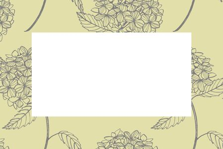 Hydrangea graphic illustration in vintage style. Flowers drawing and sketch with line-art on white backgrounds. Botanical plant illustration.