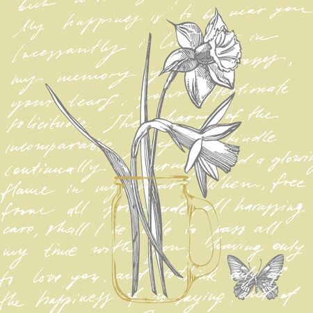 Daffodil or Narcissus flower drawings. Collection of hand drawn black and white daffodil. Hand Drawn Botanical Illustrations. Handwritten abstract text