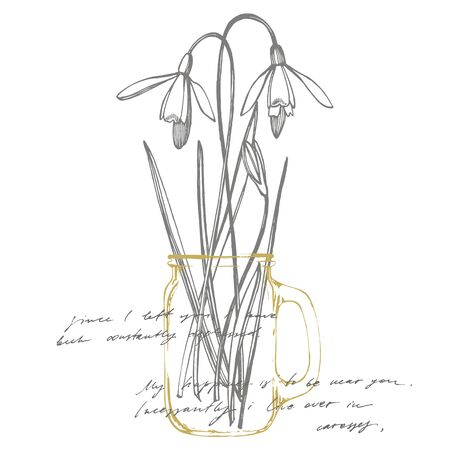Snowdrop spring flowers. Botanical plant illustration. Vintage medicinal herbs sketch set of ink hand drawn medical herbs and plants sketch. Handwritten abstract text wallpaper. 스톡 콘텐츠