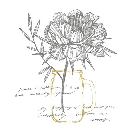 Peony flower and leaves drawing. Hand drawn engraved floral set. Botanical illustrations. Great for tattoo, invitations, greeting cards. Handwritten abstract text