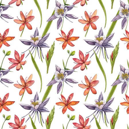 Kafir Lilies flowers. Seamless patterns. Collection of hand drawn flowers and plants. Botany. Set. Vintage flowers. Watercolor set of flowers and leaves, hand drawn floral illustration isolated on a white background. Botanical art. Stock Illustration - 129417682
