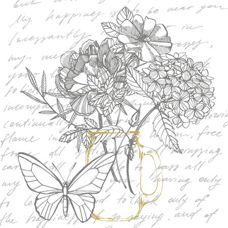 Bouquet. Spring Flowers and twigs. Peonies, Hydrangea, Rose. Vintage botanical illustration. Black and white set of drawing cornflowers, floral elements, hand drawn botanical illustration. Handwritten