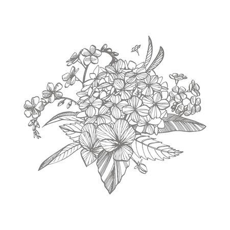 Bouquet. Spring Flowers and twigs. Peonies, Hydrangea, Rose. Vintage botanical illustration. Black and white set of drawing cornflowers, floral elements, hand drawn botanical illustration