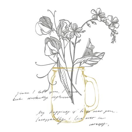 Forget-me-not flowers. Botanical illustration. Good for cosmetics, medicine, treating, aromatherapy, nursing, package design, field bouquet. Botanical plant illustration. Handwritten abstract text