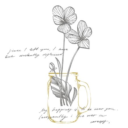 Pansy or daisy flower. Botanical illustration. Good for cosmetics, medicine, treating, aromatherapy, nursing, package design, field bouquet. Hand drawn wild hay flowers  イラスト・ベクター素材