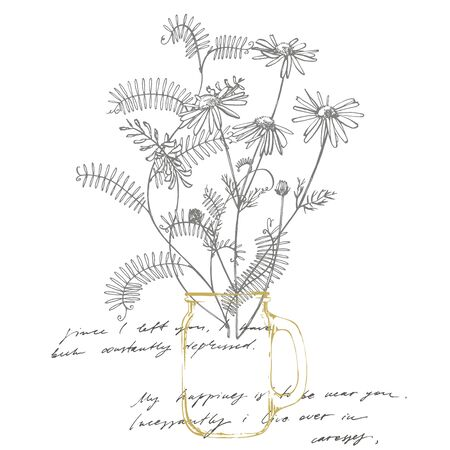 Branch of wild plant Vicia cracca. Tufted Vetch or Vicia cracca, vintage engraved illustration. Bouquet of hand drawn flowers and herbs. Botanical plant illustration. Handwritten abstract text wallpaper. Imitation of a abstract vintage lettering Ilustracja
