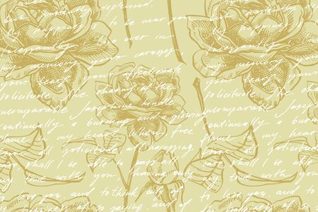Wild rose flowers drawing and sketch illustrations. Decorative floral set for fabric, textile, wrapping paper, card, invitation, wallpaper, web design. Card template on romantic background. Handwritten abstract text